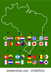 Brazil Groups Map Circles with Coat of Arms