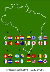 Brazil Groups Map Footballs with Coat of Arms
