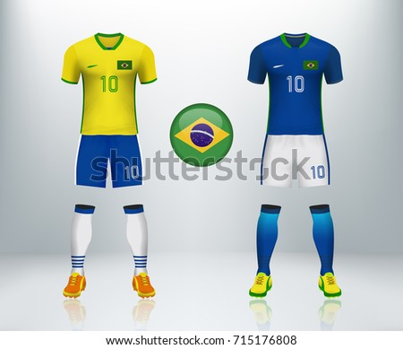 b9114ff7a9b Brazil home and away soccer jersey kit set on backdrop. Concept for Brazil  soccer uniform