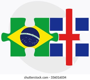 Brazil and Iceland Flags in puzzle isolated on white background