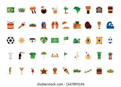 Brazil icon set design, Culture tourism brazilian travel south latin and traditional theme Vector illustration
