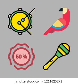 brazil icon set. vector set about tambourine, sticker, maraca and parrot icons set.