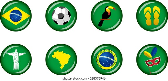 Brazil Icon Set. Vector glossy buttons representing symbols and landmarks of Brazil.