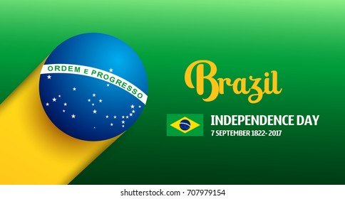 Brazil Independence Day Background in Brazlian Flag Color Concept. Celebration at 7 September 2017. Abstract Vector Illustration eps.10