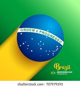 Brazil Independence Day Background in Brazlian Flag Color Concept. Celebration at 7 September 2017. Abstract Vector Illustration eps.10