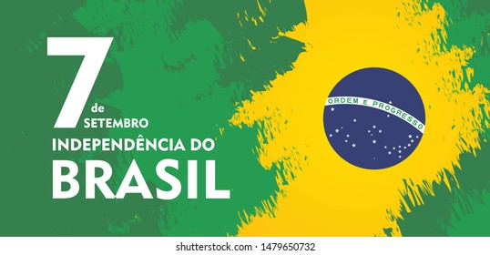 Brazil independence day celebration greeting card illustration