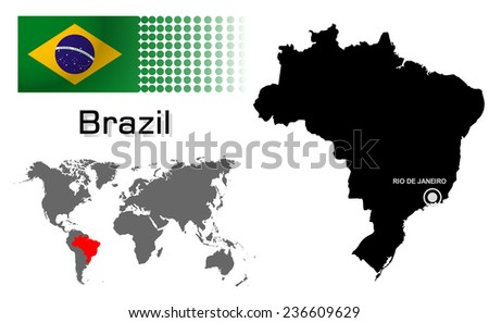 Brazil Info Graphic Flag Location World Stock Vector Royalty Free