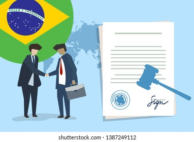 Brazil law constitution legal judgment justice legislation trial concept using flag gavel and paper