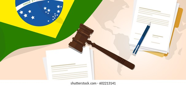 Brazil law constitution legal judgment justice legislation trial concept using flag gavel paper and pen vector