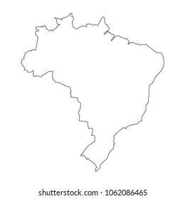 Brazil linear map on a white background. Vector illustration.