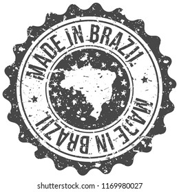Brazil Made In Map Travel Stamp Icon City Design Tourism Export Seal