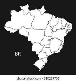 Brazil Map with districts  black white