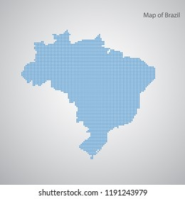 Brazil map dots on a gray background. Abstract geographical map. Vector illustration.