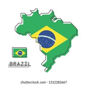 Brazil map and flag . Modern simple line cartoon design . Vector .