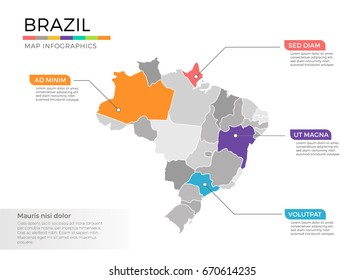 Brazil map infographic vector template with regions and pointer marks