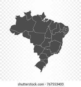 Brazil map isolated on transparent background