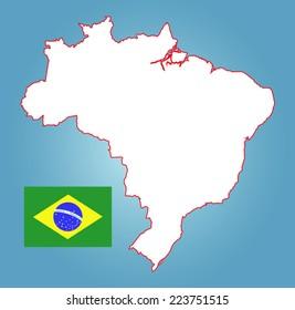 brazil map on a blue background