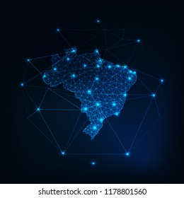 Brazil map outline with stars and lines abstract framework. Communication, connection concept.Modern futuristic low polygonal, wireframe, lines dots design. Vector illustration.