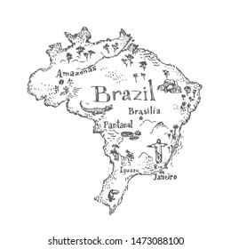 Brazil map with symbols and landmarks. Vector vintage hand drawn illustration. Black and white sketch.