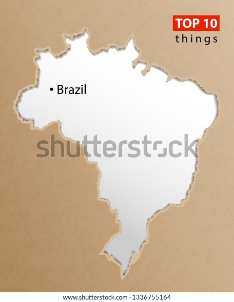 Brazil Map Vector Brazilian Maps Craft Stock Vector (Royalty