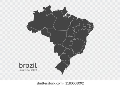 brazil map vector, isolated on transparent background