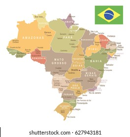 Brazil Map Vector Vintage