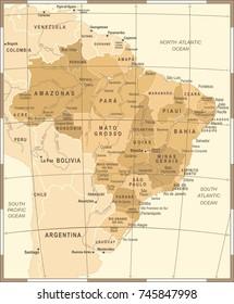 Brazil Map - Vintage Detailed Vector Illustration