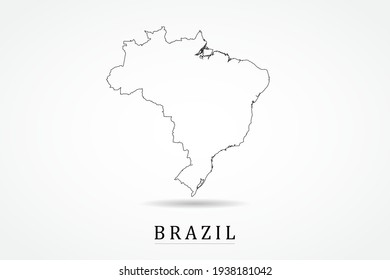 Brazil Map- World Map International vector template with thin black outline or outline graphic sketch style and black color isolated on white background - Vector illustration eps 10