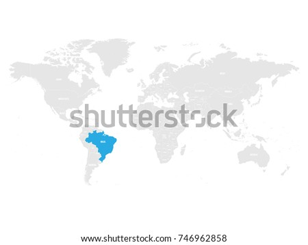 Brazil Marked By Blue Grey World Stock Vector Royalty Free