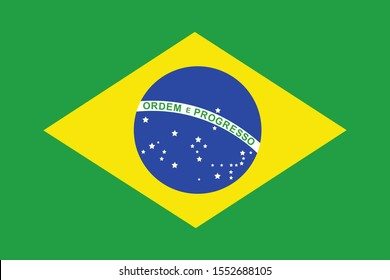 Brazil national flag vector illustration. South american country.