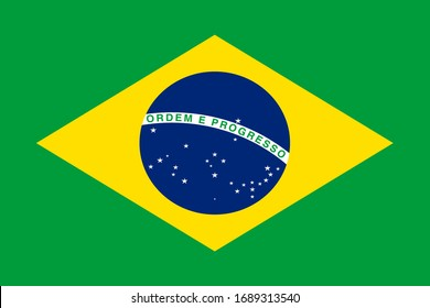 Brazil national flag. Vector illustration of Standart size.
