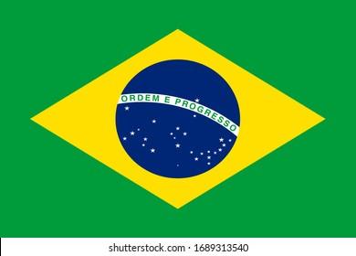 Brazil national flag. Vector illustration of Standart size.