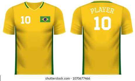 Brazil national soccer team shirt in generic country colors for fan apparel.