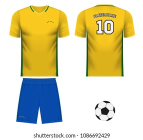 Brazil national soccer team shirt in generic country colors for fan apparel