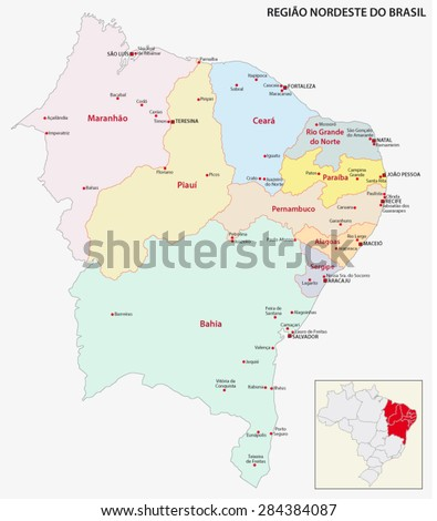 Brazil Northeast Region Map Stock Vector (Royalty Free) 284384087 ...