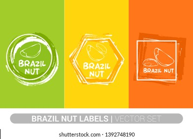 Brazil nuts colorful label set. Raw organic nuts Badge shapes. Creative Nut tags. Raw food stickers ready for web and print. Painting brush style labels. Brush stroke badges.