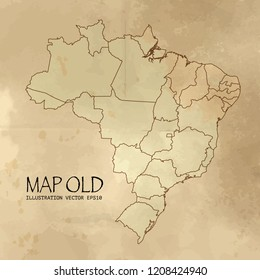 brazil on the map of Balkans in soft grunge and vintage style, like old paper with watercolor painting. VectorEPS10