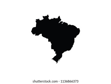 Brazil outline map country shape state borders