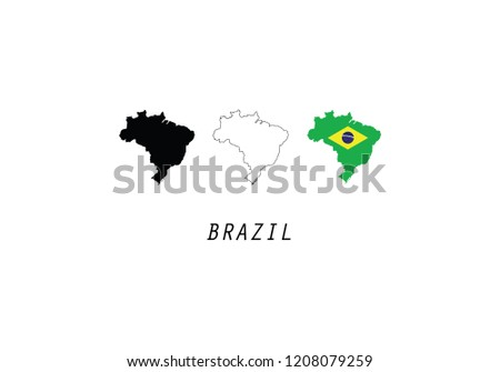 Brazil Outline Map Country Shape State Stock Vector Royalty Free