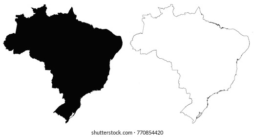 Brazil outline map - detailed isolated vector country border contour maps of Brazil on white background