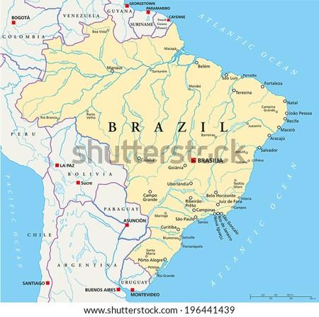 Brazil Political Map Capital Brasilia National Stock Vector Royalty
