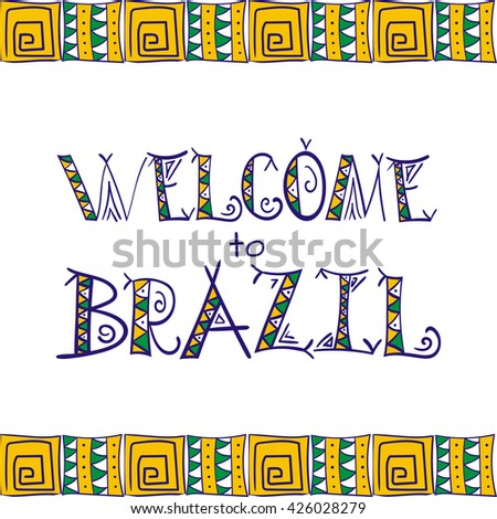brazil poster banners and card vector template background ethnic and tribal letters print