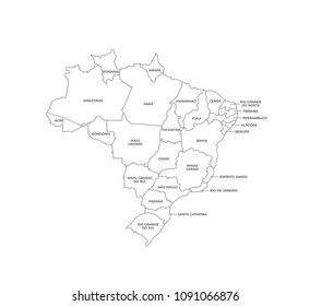 Brazil Regions Map Line Vector