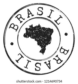 Brazil  Silhouette Postal Passport Stamp Round Vector Icon