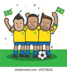 Brazil soccer player celebrate  - vector