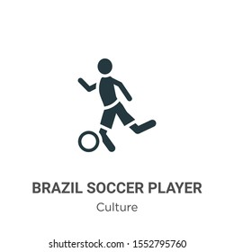 Brazil soccer player vector icon on white background. Flat vector brazil soccer player icon symbol sign from modern culture collection for mobile concept and web apps design.