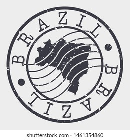 Brazil Stamp Postal. Map Silhouette Seal. Passport Round Design. Vector Icon. Design Retro Travel.