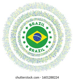 Brazil symbol. Radiant country flag with colorful rays. Shiny sunburst with Brazil flag. Captivating vector illustration.