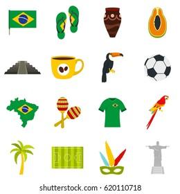 Brazil travel symbols icons set. Flat illustration of Brazil travel symbols vector icons set isolated on white background