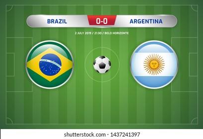 Brazil vs Argentina scoreboard broadcast template for sport soccer south america's tournament 2019 round semi finals and football championship vector illustration